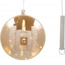 LED-Glas Kugel Amber flach, H18cm, T5cm, 2xAAA erf